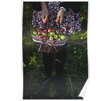 woman carrying a basket of apples Poster