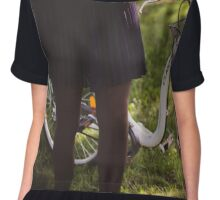 woman to lead a bicycle in the park Chiffon Top