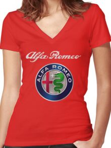 ALFA ROMEO SILVER Women's Fitted V-Neck T-Shirt