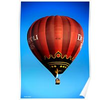 Red hot air balloon in flght on blue sky. Poster