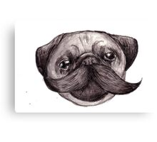 Mr Moustache Pug Canvas Print