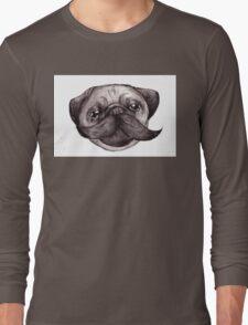 Mr Moustache Pug Long Sleeve T-Shirt