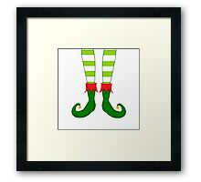 Red and Green Funny Christmas Elf Feet Framed Print