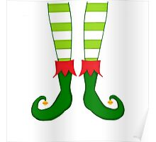 Red and Green Funny Christmas Elf Feet Poster