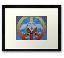Groovy campervan on peace sign Framed Print