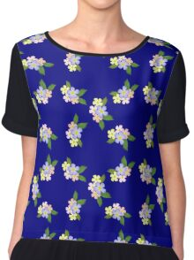 Retro Floral On Blue Chiffon Top
