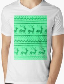 Ugly Christmas Sweater Pattern Mens V-Neck T-Shirt