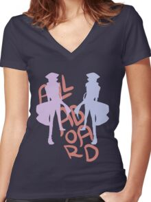 ALL ABORD THE DISCO TRAIN Women's Fitted V-Neck T-Shirt