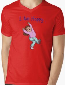 I Am Happy Mens V-Neck T-Shirt