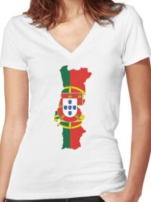Flag Map of Portugal  Women's Fitted V-Neck T-Shirt