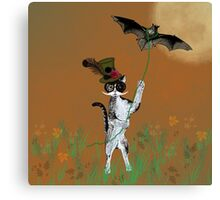 Steampunk Kitty Flying A Bat Canvas Print