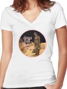 Days Fall like Leaves book sculpture logo Women's Fitted V-Neck T-Shirt
