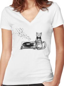 Music Master Women's Fitted V-Neck T-Shirt