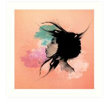 Psychedelic Blow Japanese Girl Dream Art Print