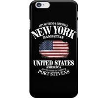 New York Skyline - USA Vintage Flag iPhone Case/Skin