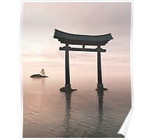 Japanese Floating Torii Gate at a Shinto Shrine, Evening Poster