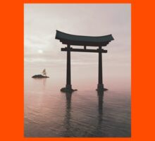 Japanese Floating Torii Gate at a Shinto Shrine, Evening Kids Tee