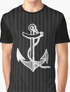 Nautical Aqua - Black and White Stripes Anchor Graphic T-Shirt