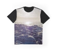 waves over white sunset rocks Graphic T-Shirt