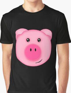 Cute Pink Farm Pig Graphic T-Shirt
