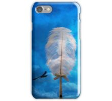 white feather and bird flying iPhone Case/Skin