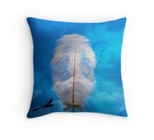 white feather and bird flying Throw Pillow
