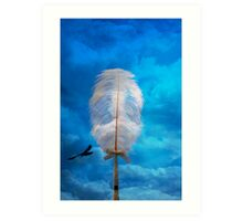 white feather and bird flying Art Print