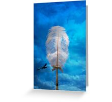white feather and bird flying Greeting Card