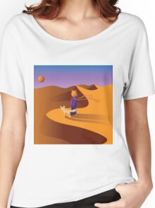The little prince in the desert with fennec fox Women's Relaxed Fit T-Shirt