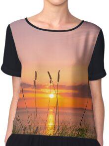 wild tall grass sunset Chiffon Top