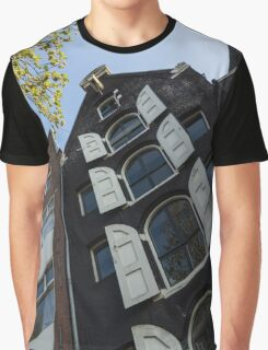 Amsterdam Spring - Arched Windows and Shutters - Left Graphic T-Shirt