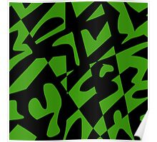 Green and Black Abstract Poster