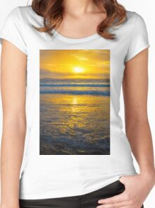 yellow sunset at beal beach Women's Fitted Scoop T-Shirt