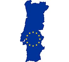 European Union Flag Map of Portugal Photographic Print