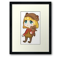 Sad chibi girl with bear Framed Print