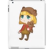 Sad chibi girl with bear iPad Case/Skin
