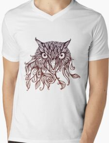 owl in graphical floral style Mens V-Neck T-Shirt