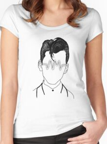 Arctic Monkeys, Alex Turner Graphc Portrait with AM logo - Dotowork  Women's Fitted Scoop T-Shirt
