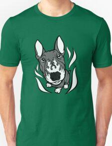 Custom Hot Rod Bull Terrier Black and White Unisex T-Shirt