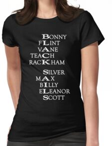 Black Sails (White Text) Womens Fitted T-Shirt