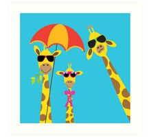The Fun Giraffe Family Art Print