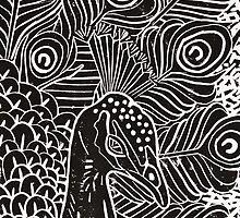 Peacock Linocut in Black by Adam Regester
