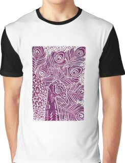Peacock Linocut in Purple Graphic T-Shirt