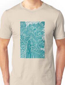 Peacock Linocut in Teal Unisex T-Shirt