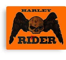 Winged Skull HARLEY RIDER Canvas Print