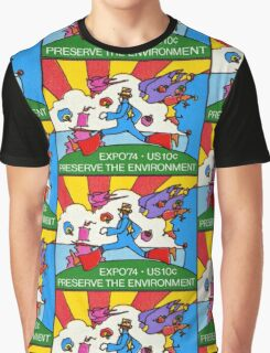 Psychedelic US Stamp Graphic T-Shirt