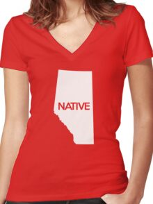 Alberta Native AB Women's Fitted V-Neck T-Shirt