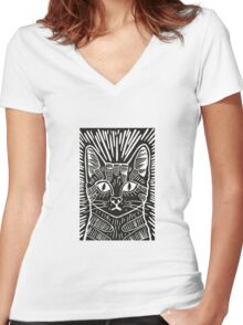 Cat Portrait Lino Print Women's Fitted V-Neck T-Shirt