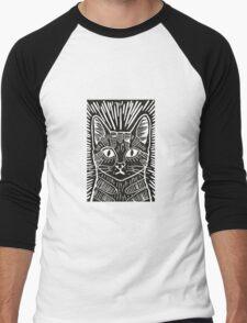 Cat Portrait Lino Print Men's Baseball ¾ T-Shirt