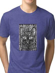 Cat Portrait Lino Print Tri-blend T-Shirt